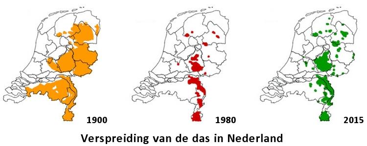Verspreidingsgebied van de das in Nederland